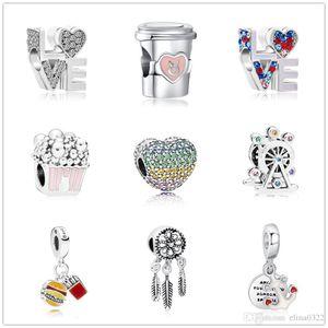 Новейшая бесплатная доставка MOQ20pcs европейского серебряной любовь чашки кофе лента Dreamcatcher поделки из бисера Fit Pandora браслет D063