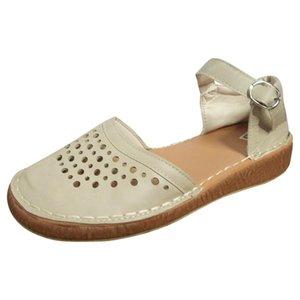 Дышащие Женские сандалии chaussures femme Leisure Rome Flat Plus Size плоская пряжка выдалбливают sapatos feminino туфли на платформе