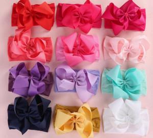 """30pcs / Lot Crianças macia bowknot Nylon Headbands Large 5"""" Hair Ribbon Sólidos Bow Jogo Nylon Carneiras Crianças Meninas Acessórios de cabelo"""