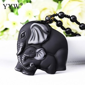 Natural Stone Pendant Black Obsidian Carved Mother Baby Elephant Lucky Pendant Necklace For Men Women Lucky Jewelry Gifts