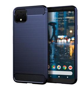 Pour Google Pixel 4 XL / Google Pixel 3a XL 3 cas XL souple en fibre de carbone TPU Gel peau caoutchouc silicone Retour Shell Téléphone Couverture
