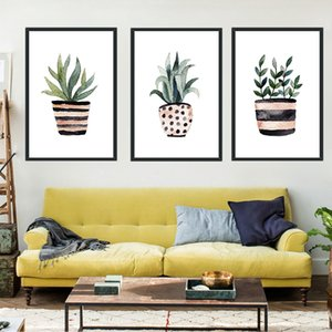 Spotted Stripe Vase Green Plant A2 A3 A4 Canvas Abstract Art Poster Print Picture Wall Living Room Bedroom Modern Home Decor