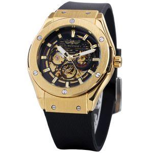 الفائز أزياء الرجال الساعات top ماركة فاخرة التلقائية ووتش الميكانيكية الهيكل العظمي الذهبي المعادن الذكور المطاط باند المعصم SLZa90