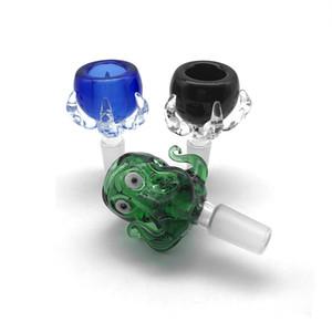 Dicke 14mm 18mm männliche Glasschüssel grün schwarz blau Dragon Claw Octopus Monster Glasschüssel Stück berauschende Schüssel Rauchen Zubehör für Glas Bongs