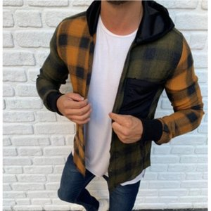 Designer Plaid Mens Shirts Spring Long Sleeve Hooded Mens Casual Shirts Patchwork Color Mens Tops With Button