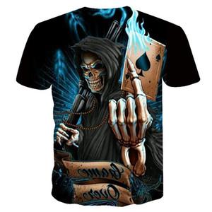 2019 NUOVO 3D skull poker divertente magliette Uomini CALDO di Marca Mens Casual 3D Stampato T shirt Uomo Vestiti maglietta estate top US TAGLIA