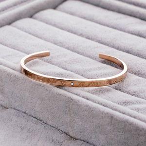 Hot selling simple women's titanium steel C-shaped Bracelet Roman digital diamond personalized creative rose gold bracelet accessories
