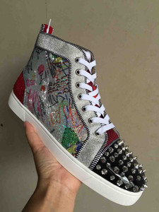 2019 High Top Red Bottom Spikes Sneakers Herren Freizeitschuhe Luxus Print Silber Pailletten Sliver Pik No Limit SELTENE Nieten und Strass Graffiti