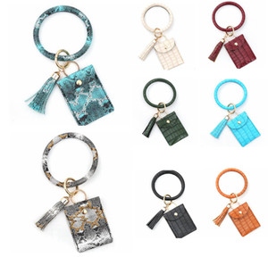 Bangle Keychain Card Pouch PU Leather Tassel Bracelet Bags Wristlet Coin Bag Girls Fashion Jewelry 14 Designs DW5415