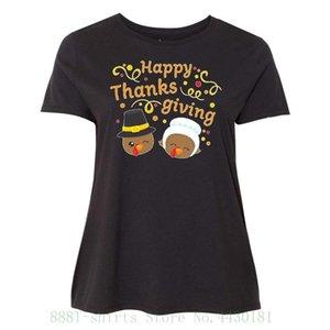 femminile Tee Happy Thanksgiving - Maglietta extrasize T Carino Tacchini nelle donne femminile della stampa di moda SUPERA IL T