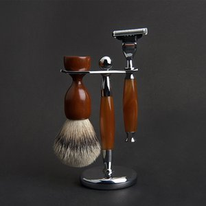 Shaving Brush with Plastic Handle, Men's professional hairdressing tool, Suitable for double-edged razors, Safety razors