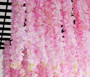 17pcs / lot 120sm الكرز زهرة زهرة الكرز الاصطناعية Rattan Hydrangea Vine For Wedding Backdrops Decoration Wall Hanging Flores