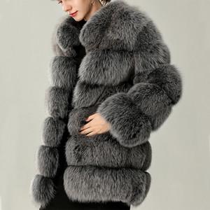 Escudo de plata UPPIN clásico piel de imitación de invierno largo y caliente Espesar la Mujer Chaqueta elegante del collar del soporte de manga larga capa de la chaqueta informal