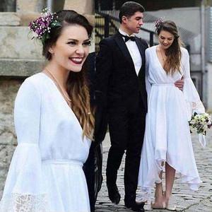 الأبيض البوهيمي فساتين الزفاف الخامس الرقبة طويلة الأكمام الشاي طول الرباط الشيفون شاطئ بوهو حديقة الزفاف أثواب زائد الحجم