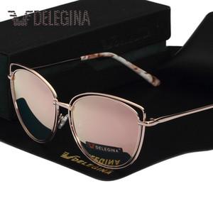 DELEGINA Design Ladies Big Cat Eye Style Mujer Gafas de sol Polarized Girls Gafas de sol Espejo con estuche