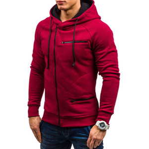 Dropshipping Plaine Muti-zipper Sweats à capuche homme manches longues de couleur unie Sweat à capuche Homme Sweat Sportswear Casual Plus Size