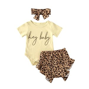 3pcs Infant Baby Girls Boys Clothes Sets Letter Print Short Sleeve Romper Tops+Leopard Shorts+Headband 0-18M