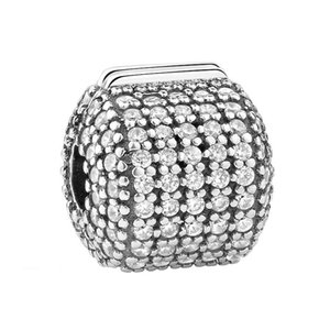 2PCS Lot Beauté européenne Cristal clip S925 Argent Sterling Charm Pendentif Perle Pandora Bracelet chaîne Bracelet Collier Making Bijoux