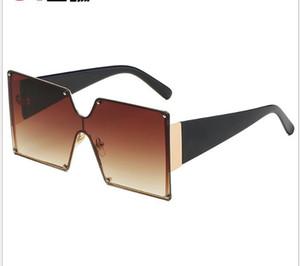 Occhiali da sole New Metal Large Frame Occhiali da sole Personality Trend Gradual Change Color Box Occhiali da sole