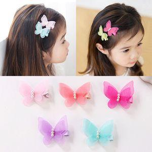 Bebê menina linda borboleta cabelo pin fada princesa cabelo hairpin tule net tecido presilhas de pérolas crianças meninas acessórios de cabelo presente