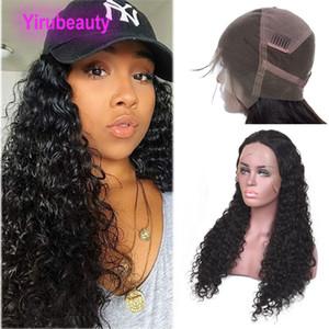 Бразильская девственная волна воды волос 8-36inch полные парики шнурка естественный цвет выполненные на заказ влажные и волнистые полные парики шнурка с предварительно выщипанными волосами младенца