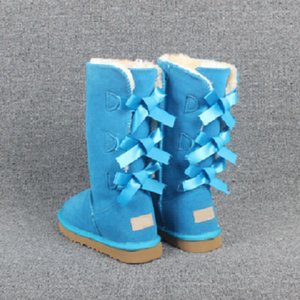 2020 Christmas NEW Designe Australia Classic bailey Style Women Snow Boots Winter High quality 3 Bowtie tall snow booties women winter shoes