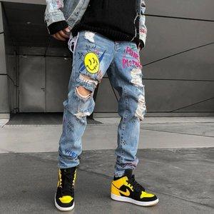 2019 New Men Skinny Jeans Slim Fit Stretchy Blue Hole Jeans Cotton Lightweight Comfy Hip Hop Graffiti Denim