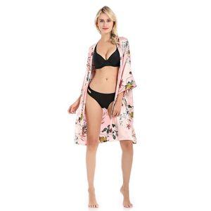 ins congedo di palma nuove donne di estate sexy del kimono accappatoio cerimonia nuziale della sposa Robes strass Rayon Sleepwear casuale femminile della camicia da notte allentata Camicia da notte