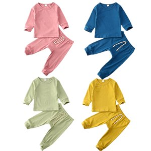 0-24M Infant Baby Boy Girl Clothes Sets Solid Pullover Tops T-shirt+Long Pants Outfits Pajamas Clothes Set
