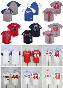 2020 hombres de la vendimia de encargo Jersey 44 Hank Aaron H.Aaron # 49 Rocker blanco gris jerseys baratos del béisbol