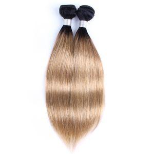 페루 스트레이트 헤어 직조 번들 1B / 27 Ombre Honey Blonde 2 톤 1 또는 2 번들 10-24 인치 인도 말레이시아 사람의 모발 연장