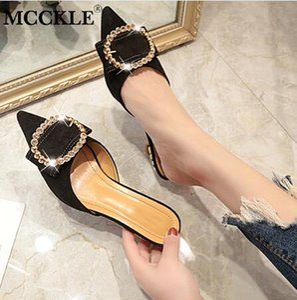 Frauen Sommer High Heels Pantoffeln Damen Spitz Seltsame Art Kristall Außerhalb Schuhe Herde Frau Mode Schuhe