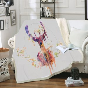 Forest Elk 3D Pattern Manta con capucha Sherpa Wool Blanket Can Wear Plush Plush Bedding Sofa Thick Warm Dropship