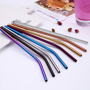 Rainbow Straight Bend 304 Stainless Steel Metal Reusable Drinking Straw Tumbler Cup Drinking Tool Drop Ship