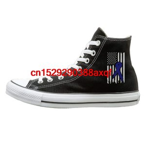 Womens Mens Classic High-Top Lace Up Canvas Shoe,Colon Cancer Ribbon USA Flag Awareness-1 Trainers Sneaker For Men Women