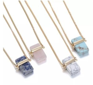 Naturstein Anhänger Rechteck Natürlichen Kristall Stein Stein Anhänger Halsketten Quarz Steine Halskette Rechteckigen Kristall Halskette MOQ 10 stücke