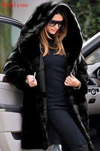 Femme Fourrure Faux Plus Taille S-5XL Femme Mode Teeddy Manteau hiver épaissir des vestes chaudies moelleuses dame surpendeur longue sweat hoélide manteaux poils