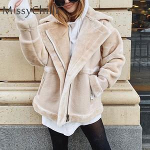 MissyChilli Faux pelliccia patchwork cappotto di pelle morbida donne di autunno breve riscaldamento cappotto femminile soffice mantello invernale orsacchiotto outwear CJ1191109
