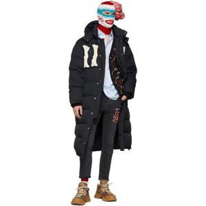 18FW 블랙 편지 자수 롱 다운 자켓 따뜻하고 편안한 두꺼운 커플 여성과 남성 디자이너 고품질 코트 HFXHYRF004