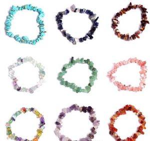 Pulseira de cristal natural Pulseira de cristal gemstone 18cm pulseira estiramento natural pulseiras de pedra mista gemstone chakra pulseira GB1238