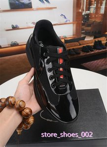 Prada xshfbcl العلامة التجارية الجديدة وصول رجل أسود أحذية الراحة عارضة أزياء حذاء رياضة أحذية رياضية للجلد رجل براءات الاختراع مع أحذية شبكة تنفس