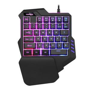 Wired Individual Gaming Mão teclado USB Professional LED desktop retroiluminado mão esquerda do teclado ergonômico com wirst Para Games