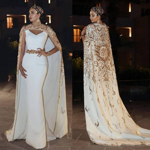 Arabic Ashi Studio Mermaid Evening Dresses With Cloak 2019 Luxury Lace Applique Beads Formal Prom Gowns V Neck Floor Length Party Dress