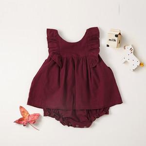bebê roupas de verão bebê kidssleeveless escalada romper 100% algodão gola redonda romper branco ou vinho de cor vermelha crianças rompers bonitos 0-2T