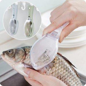 Peixe criativo Escova Da Pele Raspagem Escalas Raspador De Escala De Pesca Peixe De Limpeza Descascador de Frutos Do Mar Ferramentas de Cozinha Cozinhar Accessorie 3 Cores