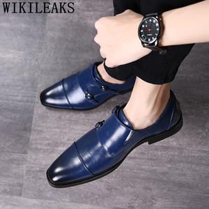 double monk strap shoes mens office shoes leather elegant men classic coiffeur black wedding dress  italian