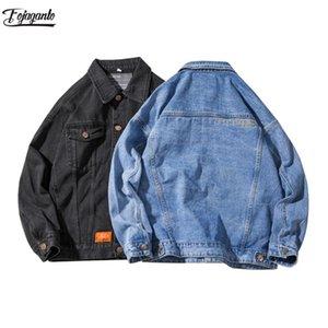 FOJAGANTO Trend Denim Jacket Men Fashion Brand Men's High Street Cargo Denim Jacket Coats Casual Wild Jackets Male