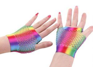 Regenbogen-Fischnetz-Fingerlose Handschuhe Sexy Bunte Glänzende Meerjungfrau Halbfinger-Handschuhe Braut / Party / Nachtclub Netzhandschuhe