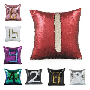 18colors blank Sequin Marmymer pillowslip double Color for Home Sofa Sequins وسادة Decorative Pillage Cover 100pcs T1I1806