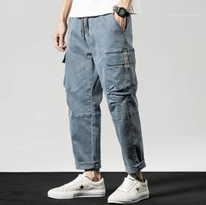 with Pockets Spring Summer Street Style Mens Trousers Plus Size Mens Cargo Pants Casual Light Color Relaxed Harem Pants